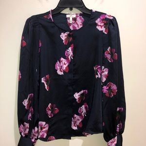 JOIE Small Floral Button-Up Satin Blouse Floral